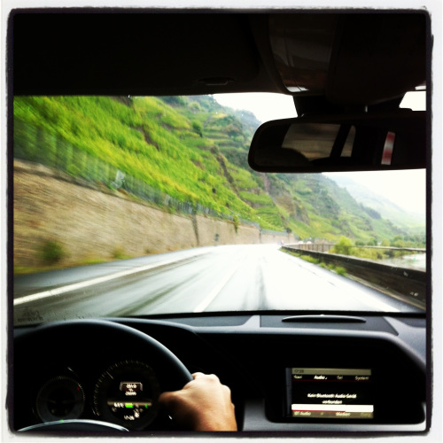 Driving under the Bremmer Calmont, Mosel River, Germany.
