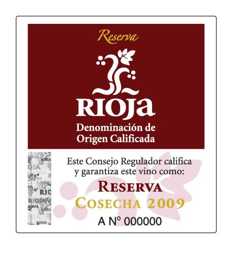 Rioja Reserva DOC tag label