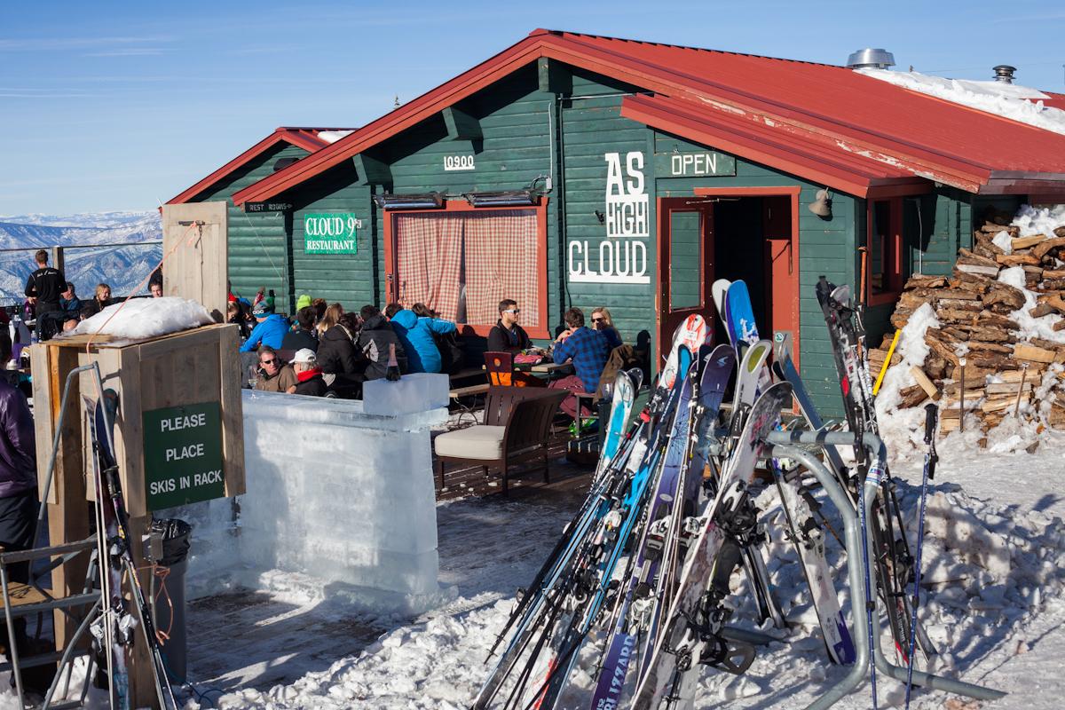 The deck at Cloud Nine Alpine Bistro, Aspen Highlands, Colorado
