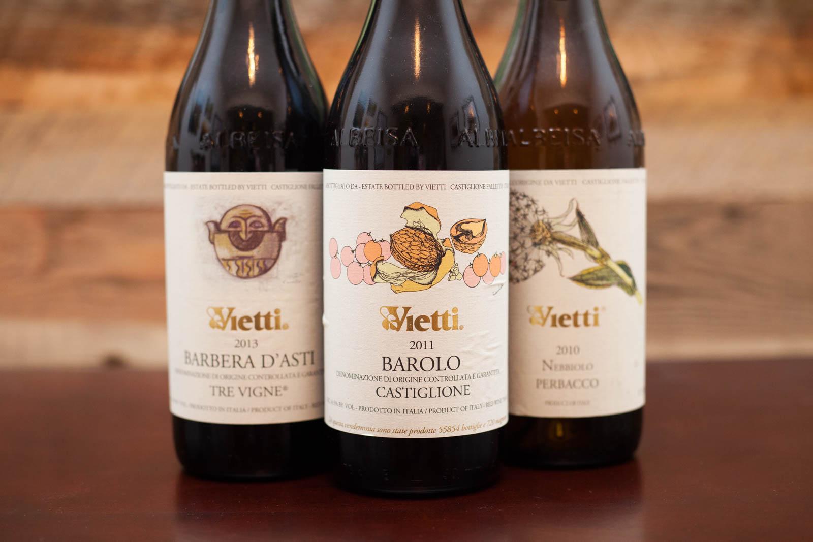Vietti Winery wines: Barbera d'Asti, Barolo Castiglione, Nebbiolo Perbacco