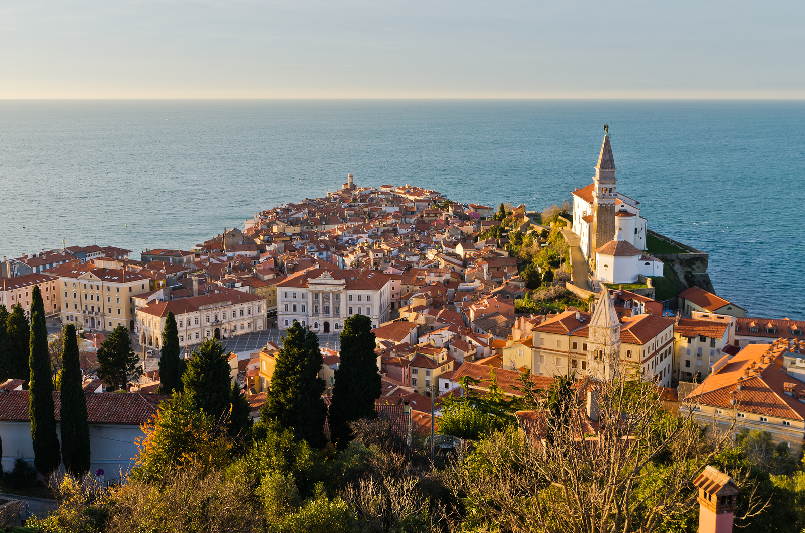 Panoramic view of adriatic sea from the hill above the city of Piran in Istria, Slovenia