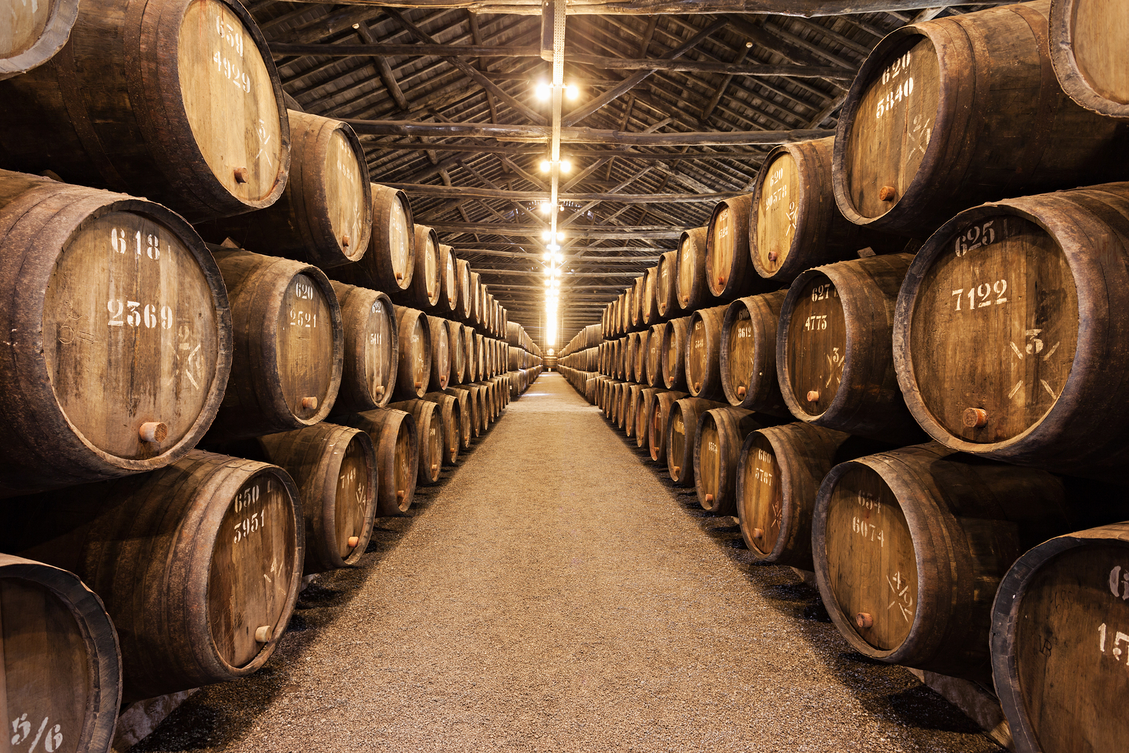 Barrels with Porto Wine in the wine cellar on July 01 2014 in Porto Portugal