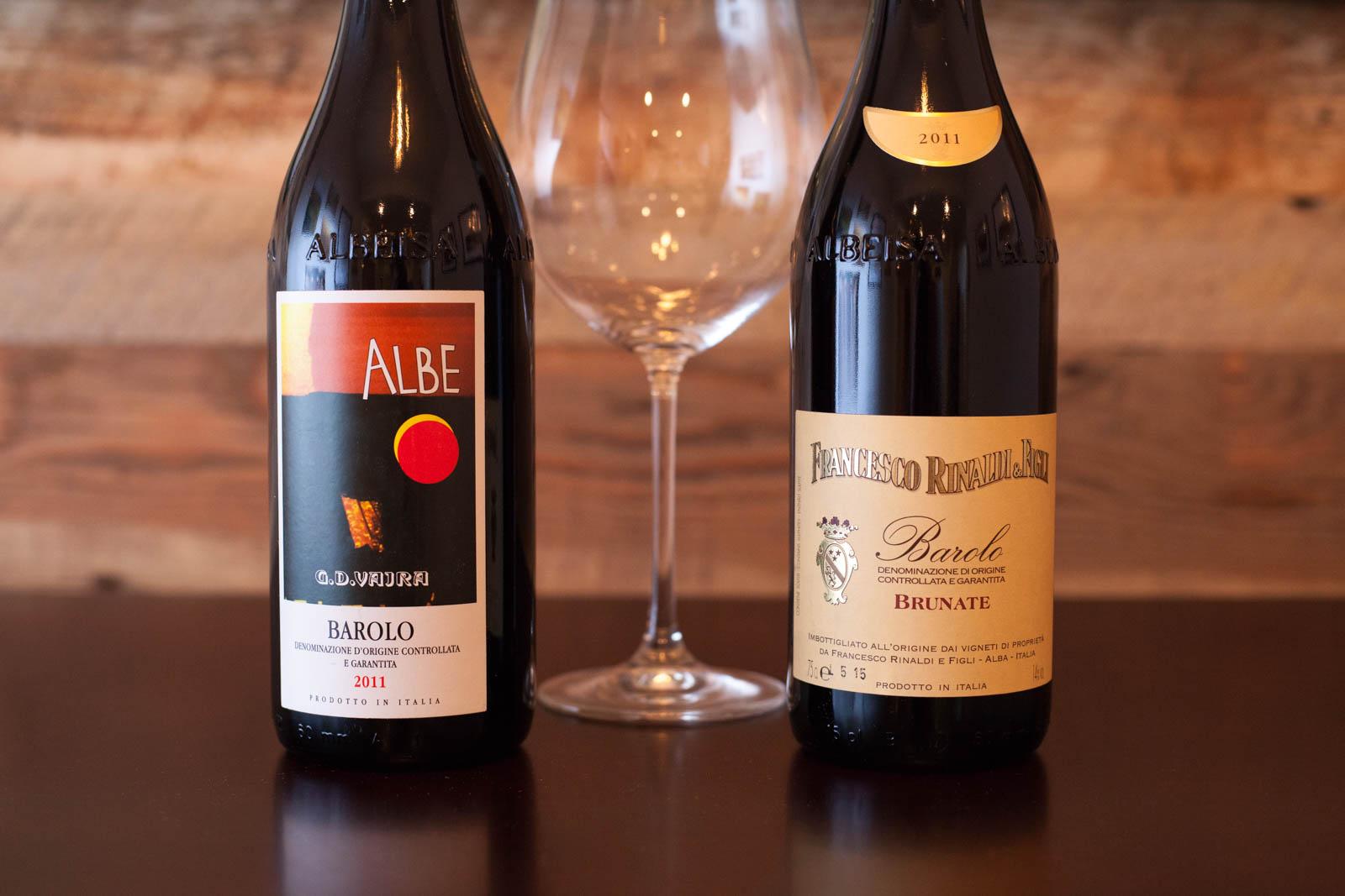 """2011 Francesco Rinaldi & Figli """"Brunate"""" Barolo; 2011 G.D. Vajra """"Albe"""" Barolo. ©Kevin Day"""