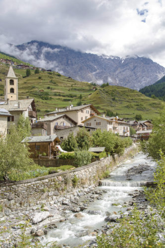 Scenic view of a typical town in Valtellina a valley in the Lombardy region of northern Italy bordering Switzerland along the Adda river