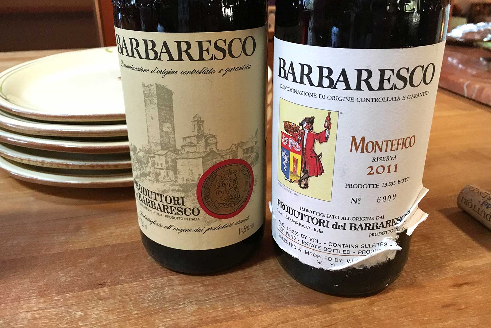 A side-by-side comparison of Produttori del Barbaresco: the standard Barbaresco DOCG (left) and the single-vineyard Montefico Riserva (right). ©Kevin Day/Opening a Bottle