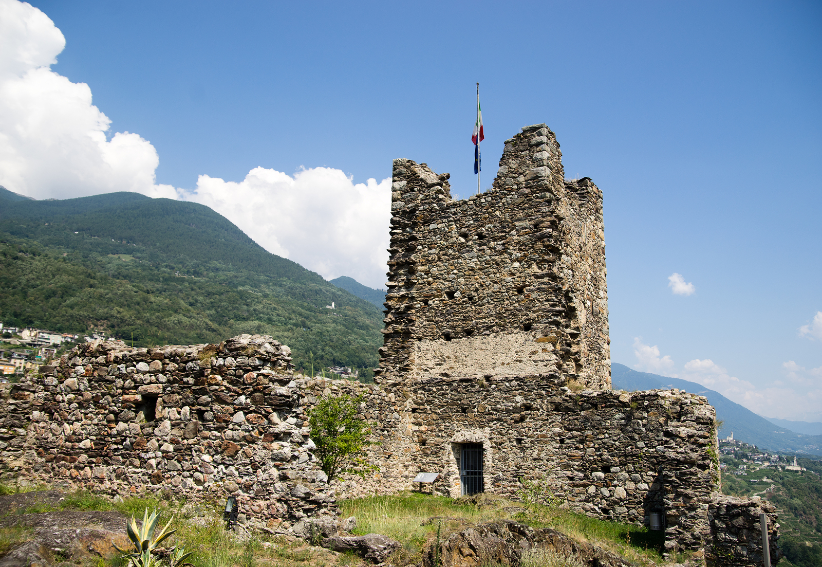 Medeival attraction in italy of old castle ruins