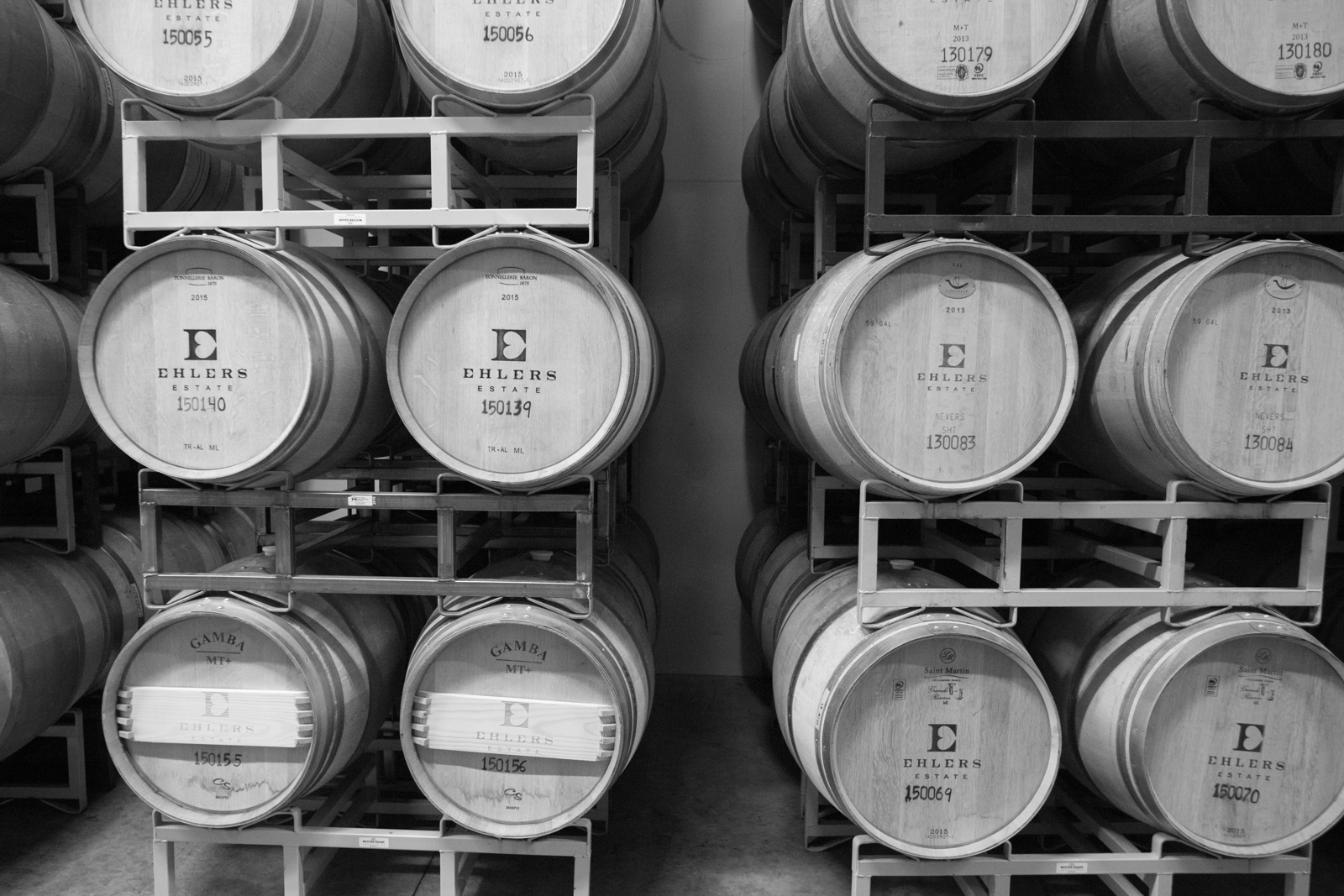 Barrels of wine at Ehlers Estate. ©Kevin Day/Opening a Bottle