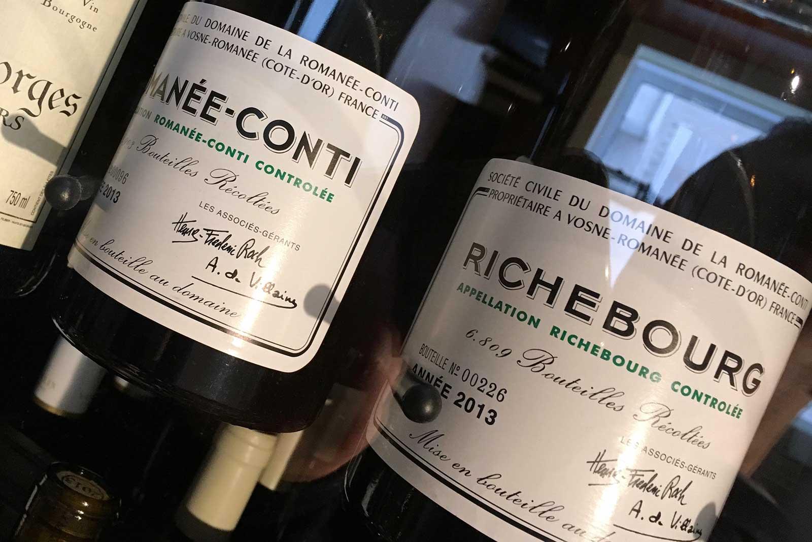 Bottles of Domaine de la Romanée-Conti. ©Kevin Day/Opening a Bottle