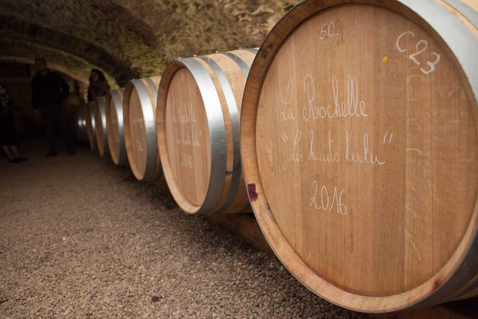 Barrels of Moulin-à-Vent age in the cellar at the château. ©Kevin Day/Opening a Bottle