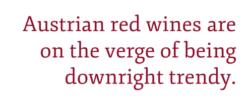 """Pull quote: """"Austrian red winesare on the verge of being downright trendy."""" –Kevin Day, Opening a Bottle"""