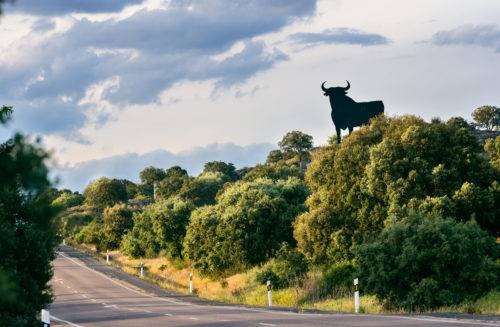 One of the iconic Osborne bulls along a lonely highway in Spain.