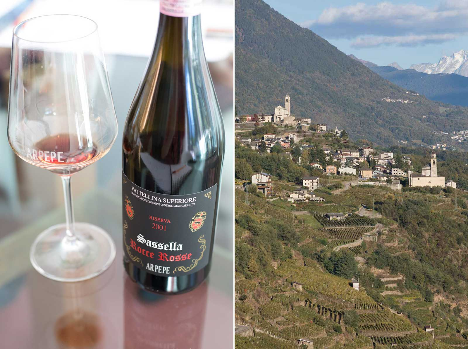 "The 2001 ARPEPE ""Rocce Rosse"" Valtellina Superiore Sassella (left); and the view to the east from the Grumello castle above the winery (right). ©Kevin Day/Opening a Bottle"