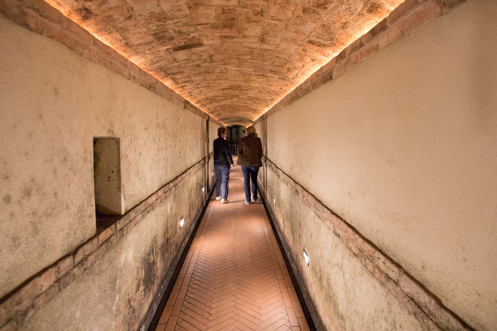 An underground corridor connecting parts of the Vietti winery. The impressive structure is built into the walls of Castiglione Falletto; a gravity-flow winery long before it was ever a trendy term. ©Kevin Day/Opening a Bottle
