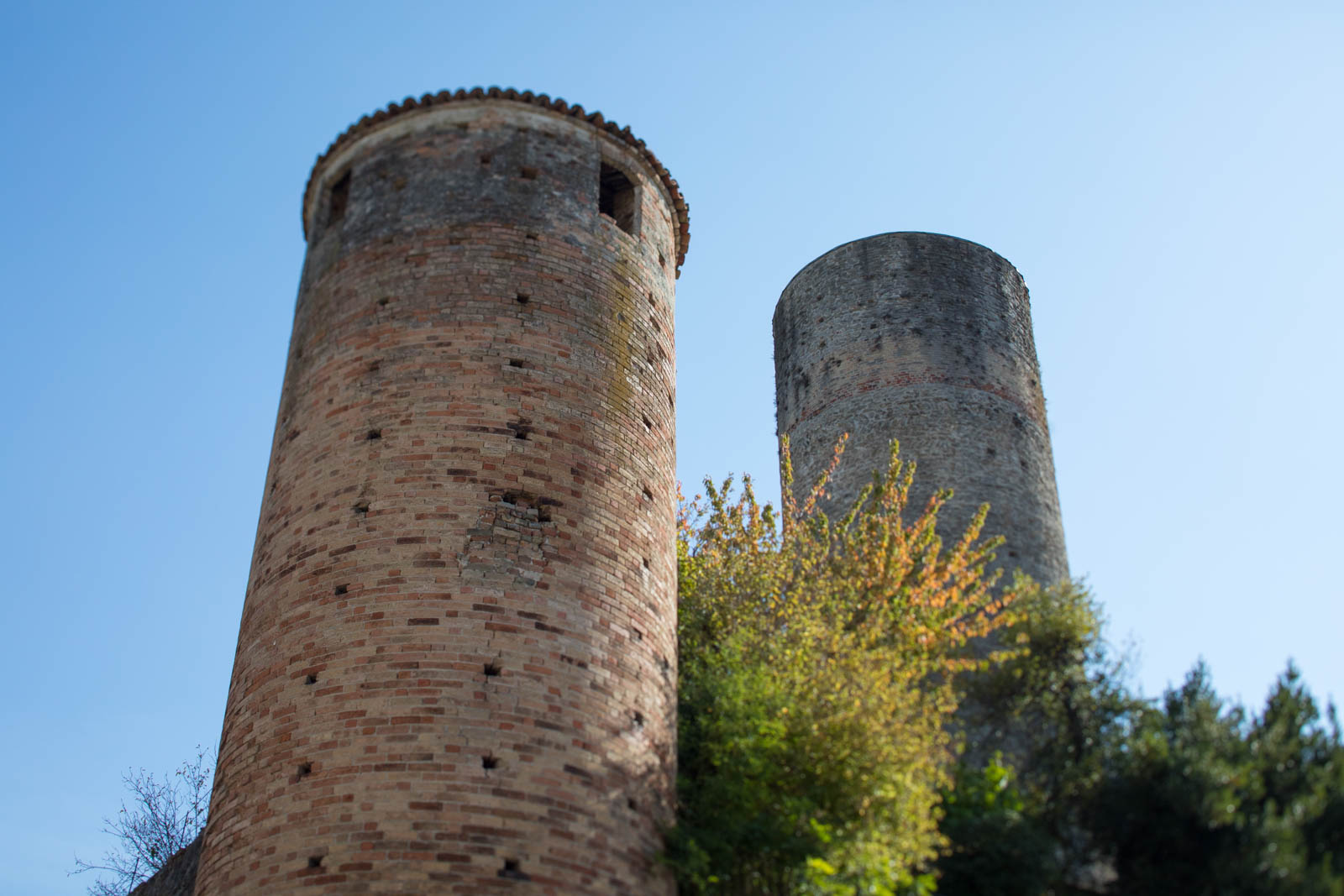 The twin turrets of Castiglione Falletto's ancient fortress next to Vietti Winery. ©Kevin Day/Opening a Bottle