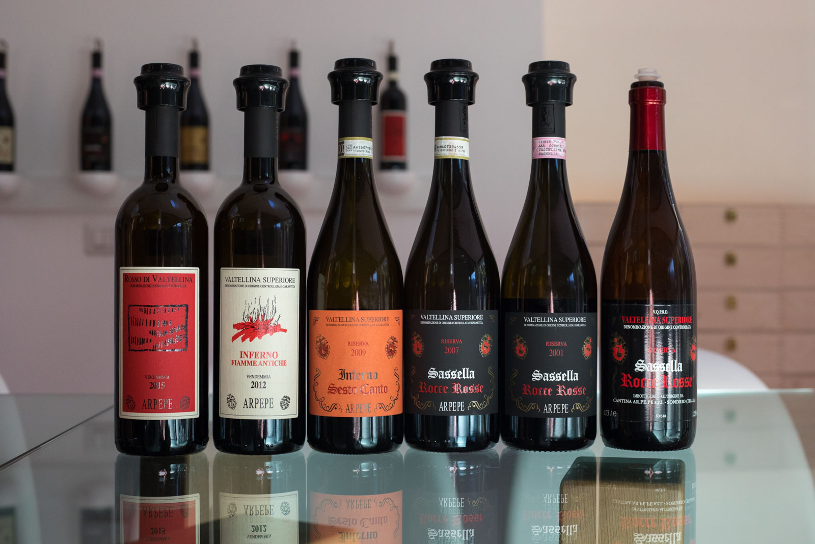 The wines of ARPEPE. Every one of them is different, despite coming from the same grape. And every one of them earned my highest rating. ©Kevin Day/Opening a Bottle.