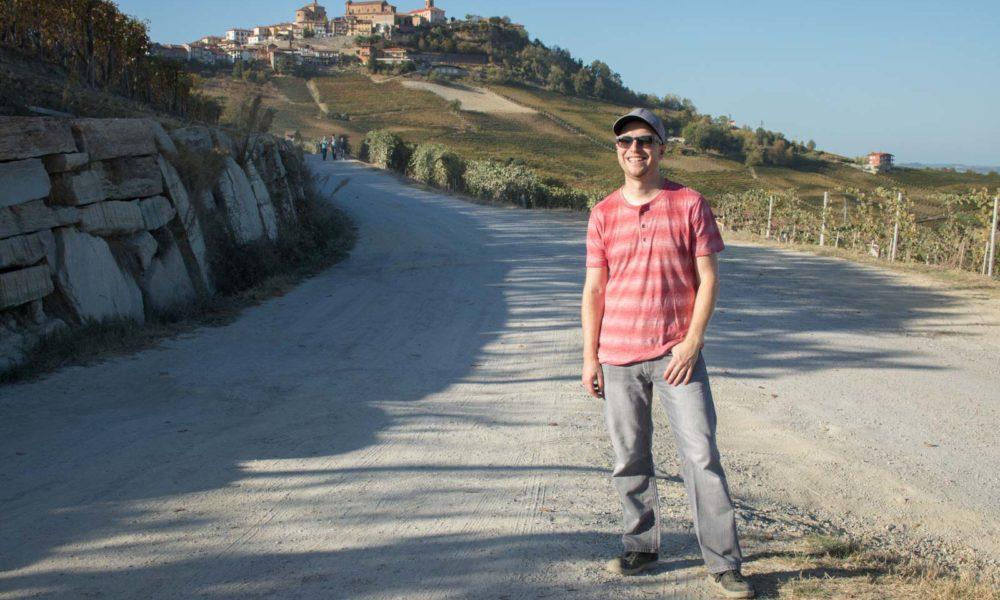 Wine writer Kevin Day in Barolo vineyards near La Morra, Italy ©Hailey Day/Opening a Bottle