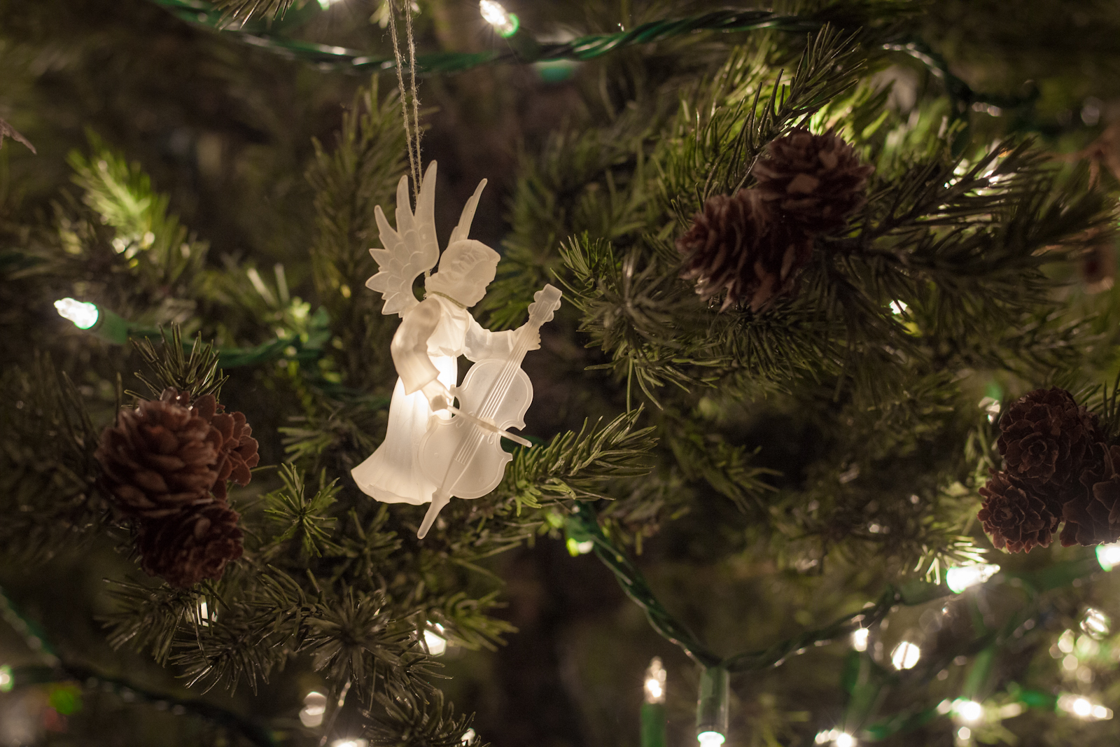 Angel ornament on a Christmas tree