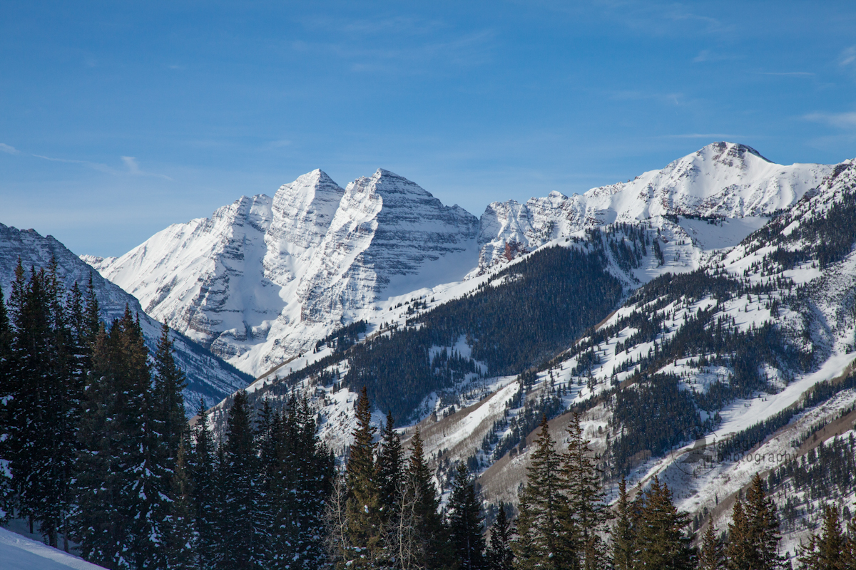 Maroon Bells from Aspen Highlands ski area, Colorado