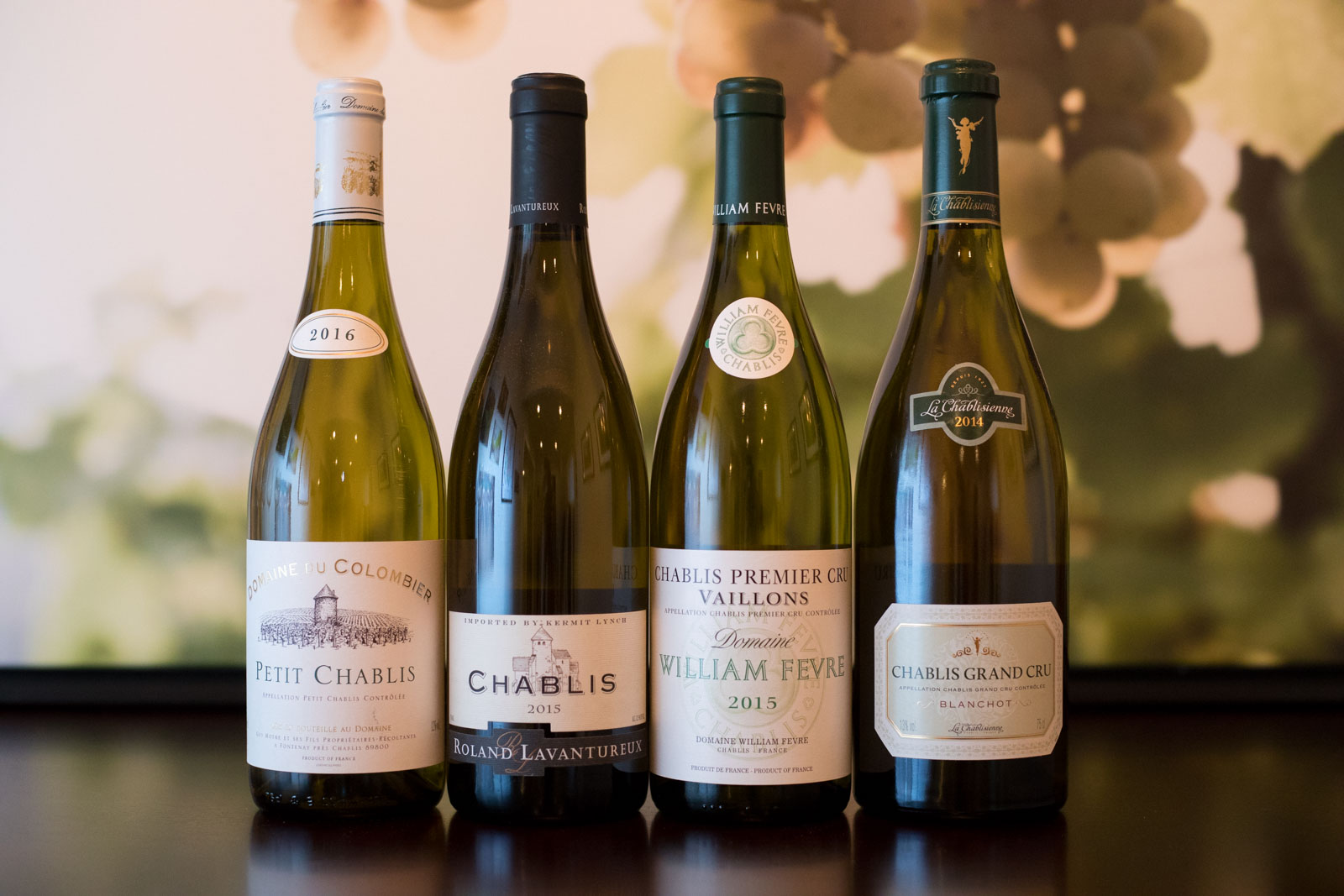 All four versions of Chablis from left to right: Petit Chablis, Chablis, Chablis Premier Cru, Chablis Grand Cru. ©Kevin Day/Opening a Bottle