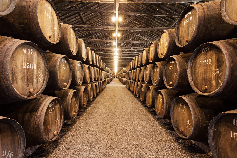 Barrels with Porto Wine in the wine cellar on July 01 2014 in Porto Portugal