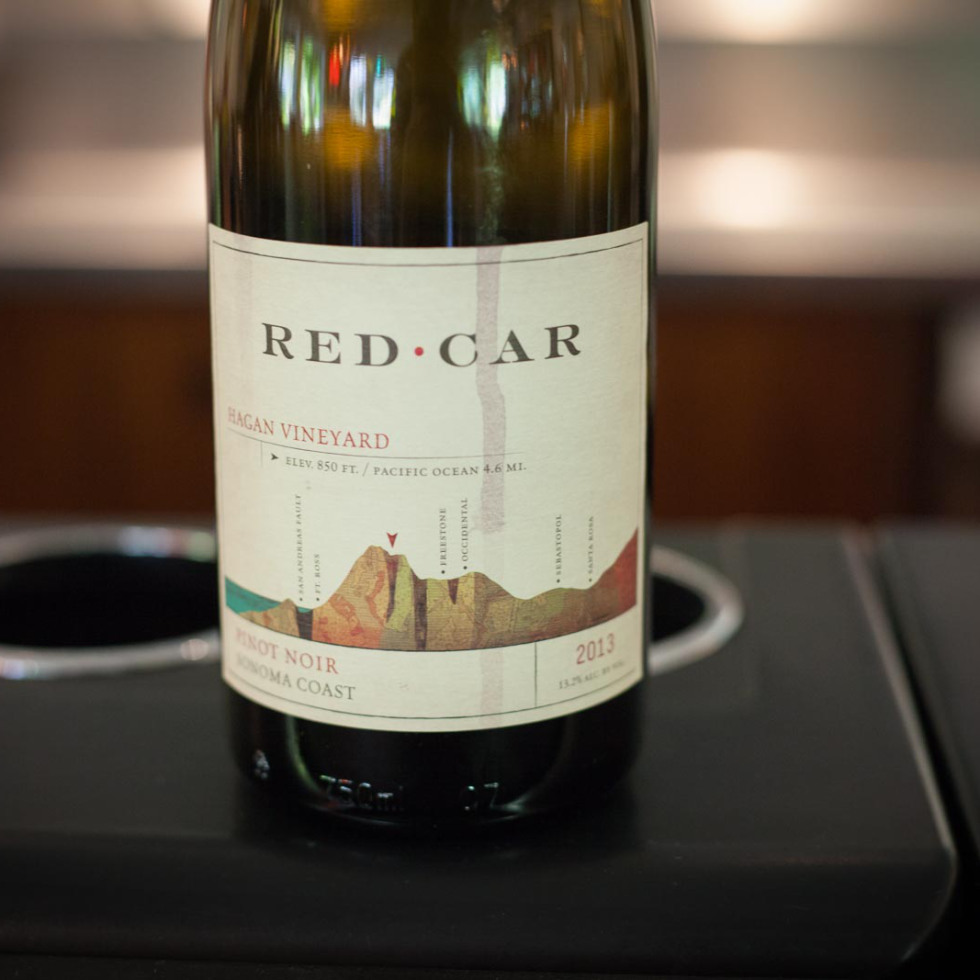 A bottle of Red Car Hagan Vineyard Pinot Noir. © Kevin Day / Opening a Bottle