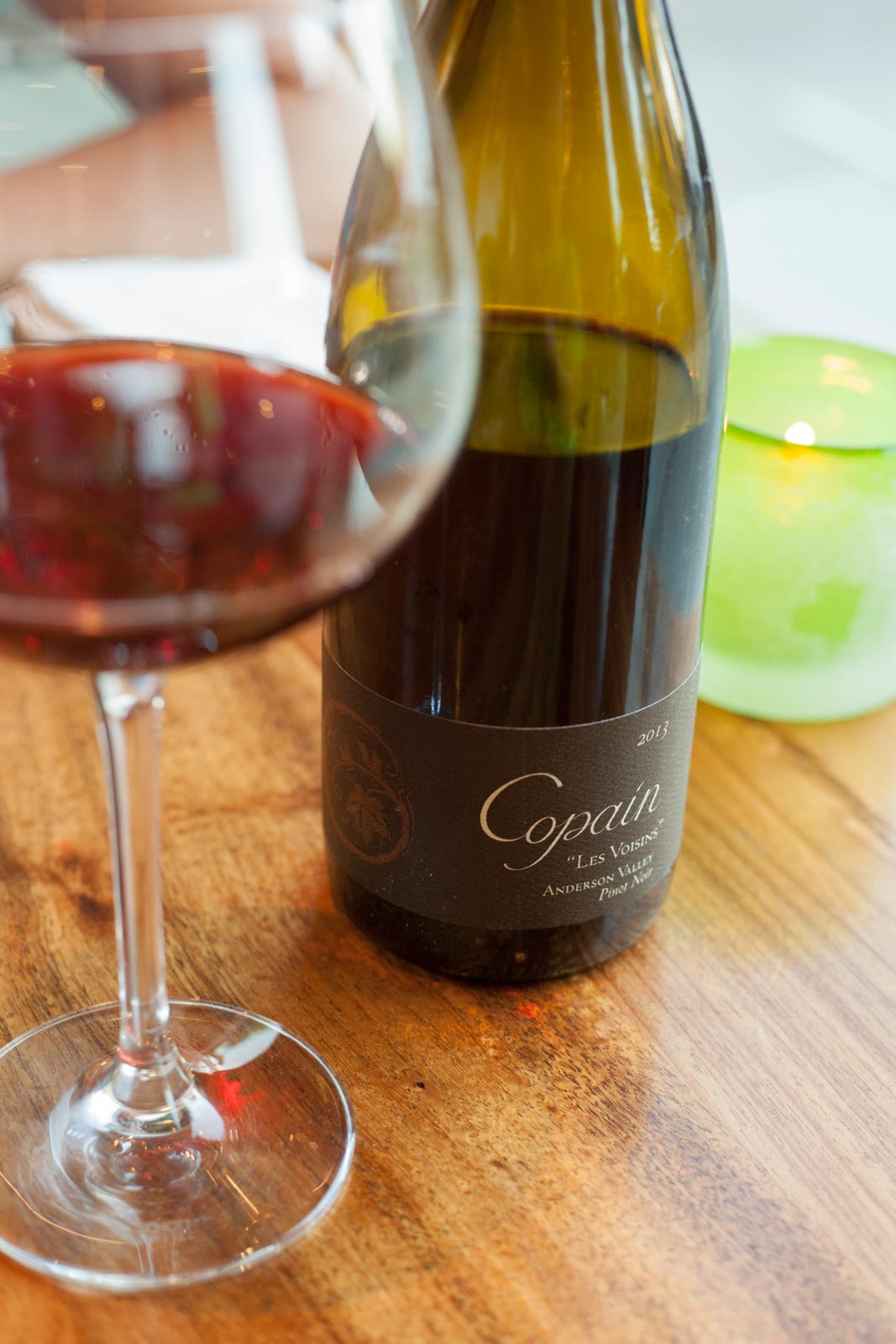 A bottle of Copain Les Voisin Anderson Valley Pinot Noir with dinner. ©Kevin Day/Opening a Bottle