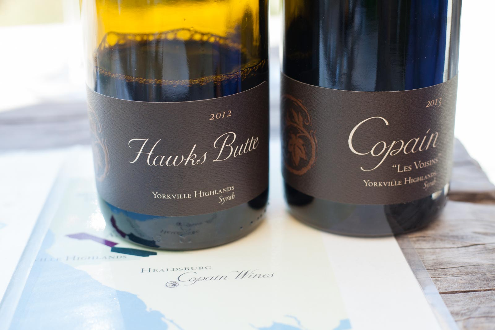 Copain's Hawks Butte Syrah and Les Voisin Pinot Noir. ©Kevin Day / Opening a Bottle