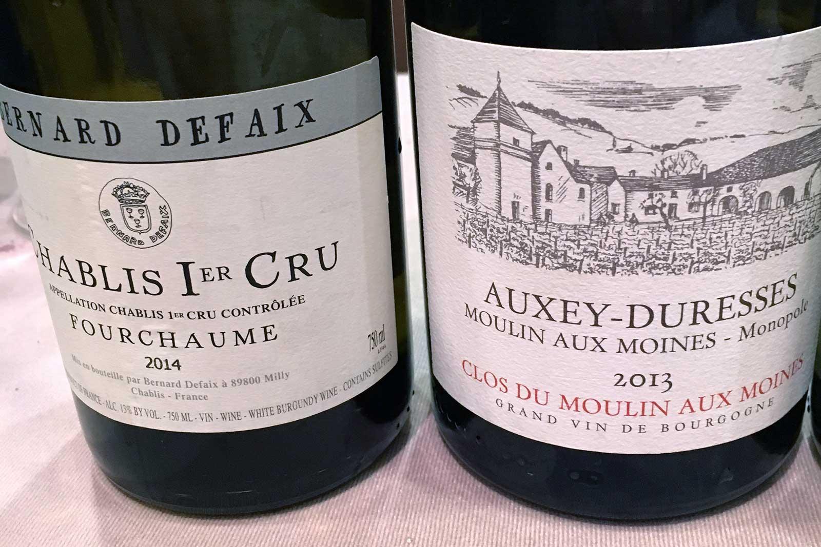 Wines being poured at the Boulder Burgundy Festival 2016, including Bernard Defaix Chablis