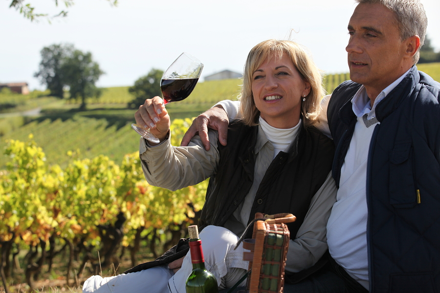 Couple tasting wine in vineyard