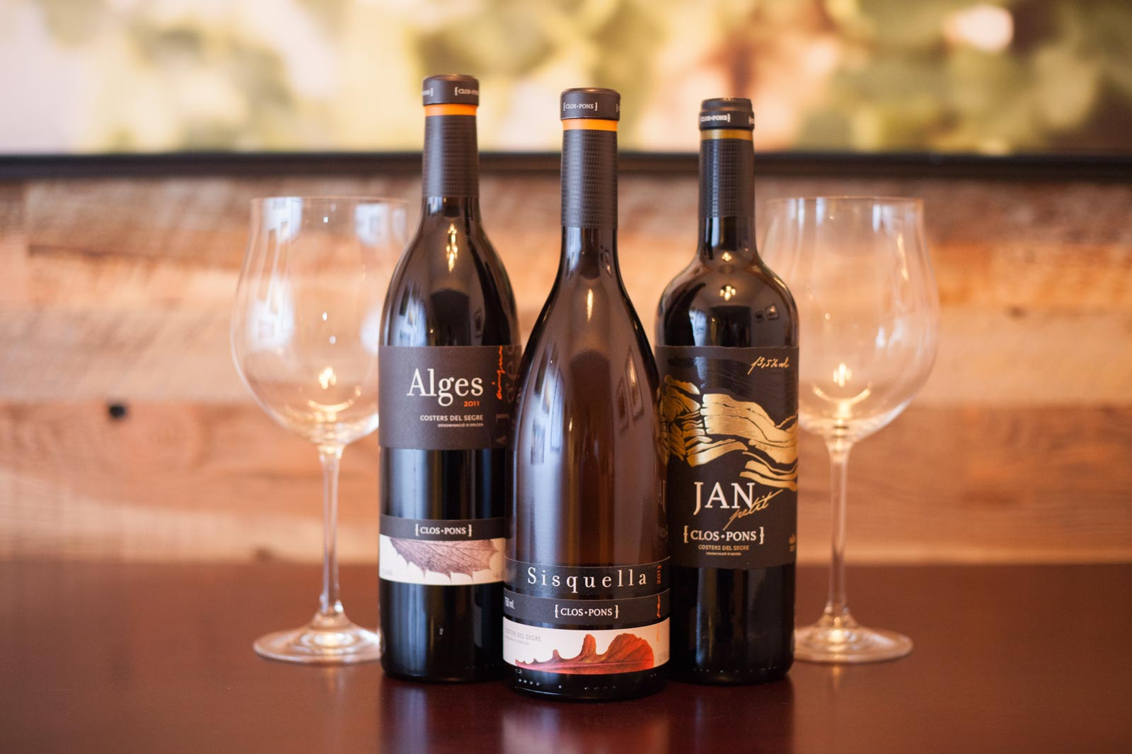 Three wines from Clos Pons, a Spanish winemaker in Costers del Segre. ©Kevin Day / Opening a Bottle