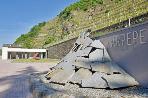 """The entrance to Ar.Pe.Pe's winery beneath the vineyards that go into the Grumello """"Rocca de Piro"""" Valtellina Superiore Riserva. ©Ar.Pe.Pe."""