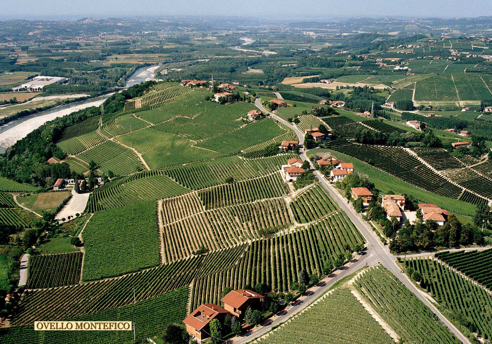 The Montefico (bottom center) and Ovello (stretching into the distance) vineyards. Ovello's unique terroir derives a fair amount of character from its position above the Tanaro River. ©Produttori del Barbaresco
