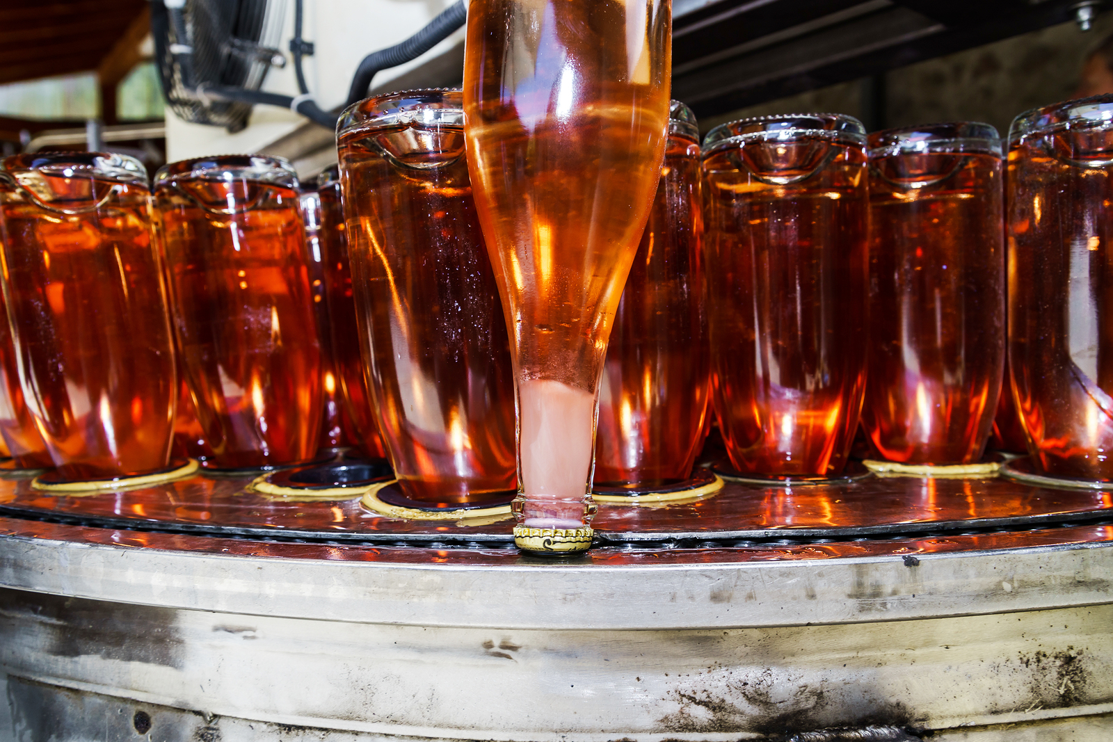 Cremant d'Alsace Rosé is inverted so yeast cells from secondary fermentation can be frozen in place before disgorgement.