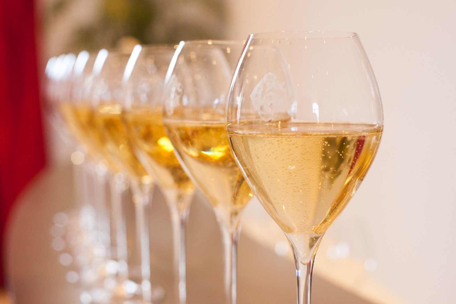 Champagne glasses in a row. Epernay, France. ©Kevin Day / Opening a Bottle
