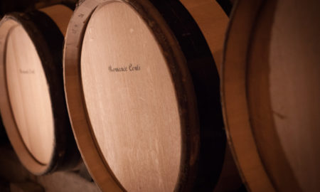 A barrel of 2016 Domaine de la Romanée-Conti Grand Cru Romanée-Conti wine rests in the cellar beneath Vosne-Romanée, Burgundy, France.