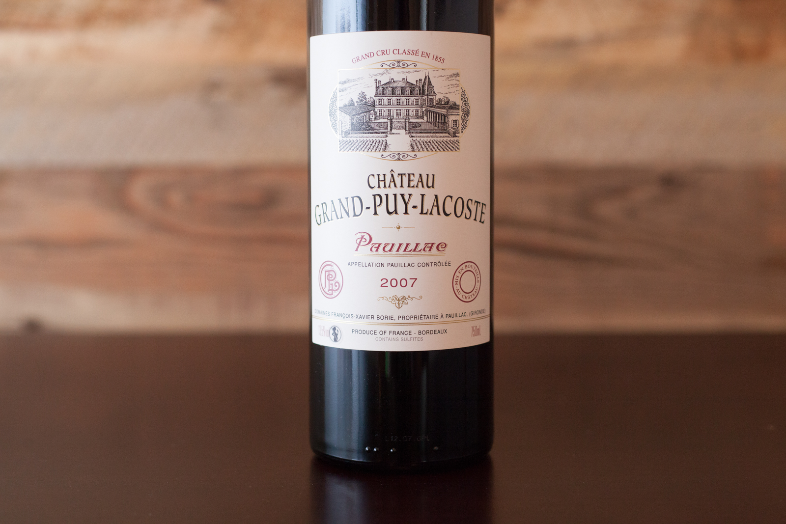 2007 Château Grand-Puy-Lacoste Pauillac bottle shot. ©Kevin Day / Opening a Bottle