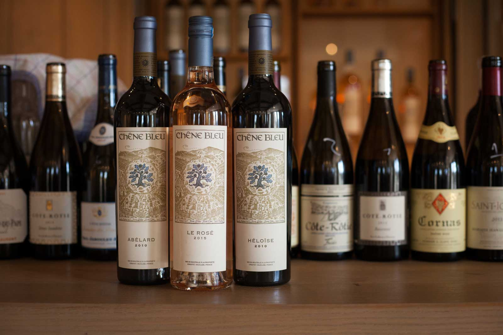 Three of the wines from Chêne Bleu. ©Kevin Day / Opening a Bottle