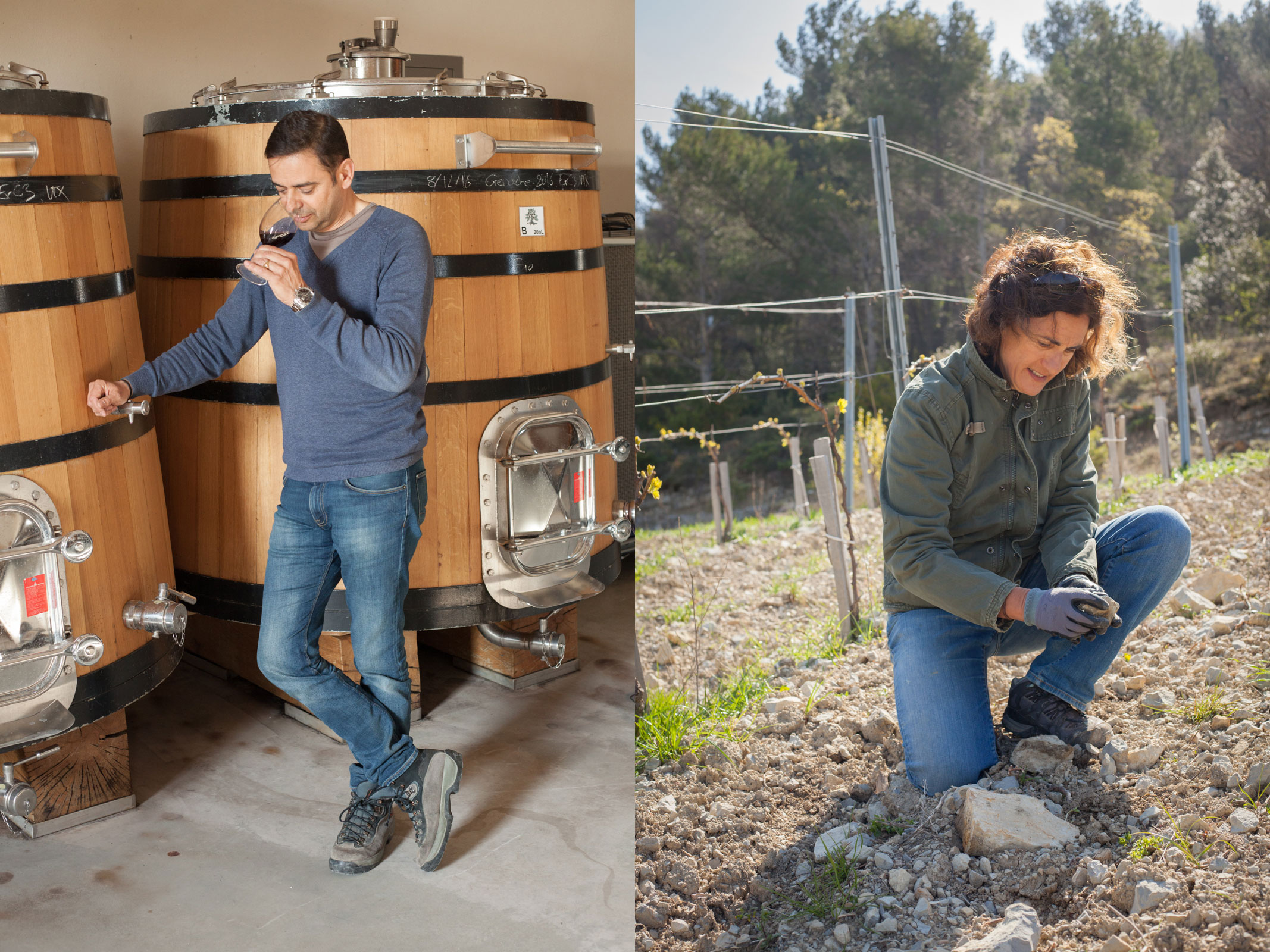 A family affair: Winemaker Jean-Louis Gallucci and his wife, vineyard manager Bénédicte Gallucci. Bénédicte's brother is estate founder Xavier Rolet. ©Kevin Day / Opening a Bottle
