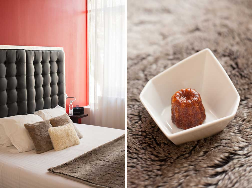 Accommodations and a canelé welcome at Le Boutique Hotel, Bordeaux. ©Kevin Day / Opening a Bottle