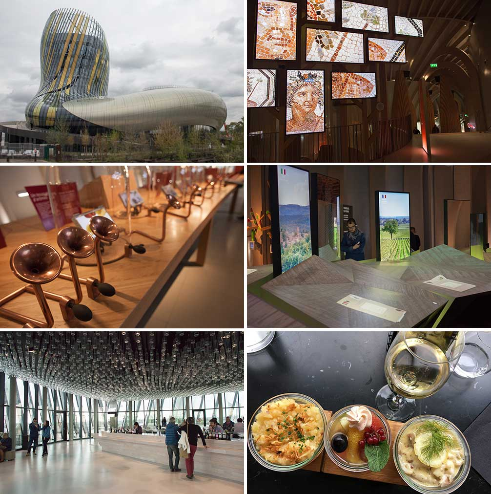 The exterior and interior of the spectacular La Cité du Vin museum in Bordeaux. ©Kevin Day/Opening a Bottle