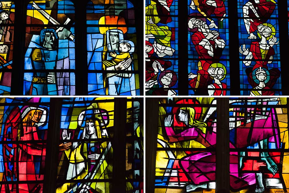 The stained-glass windows inside L'eglise Saint-Michel. ©Kevin Day/Opening a Bottle