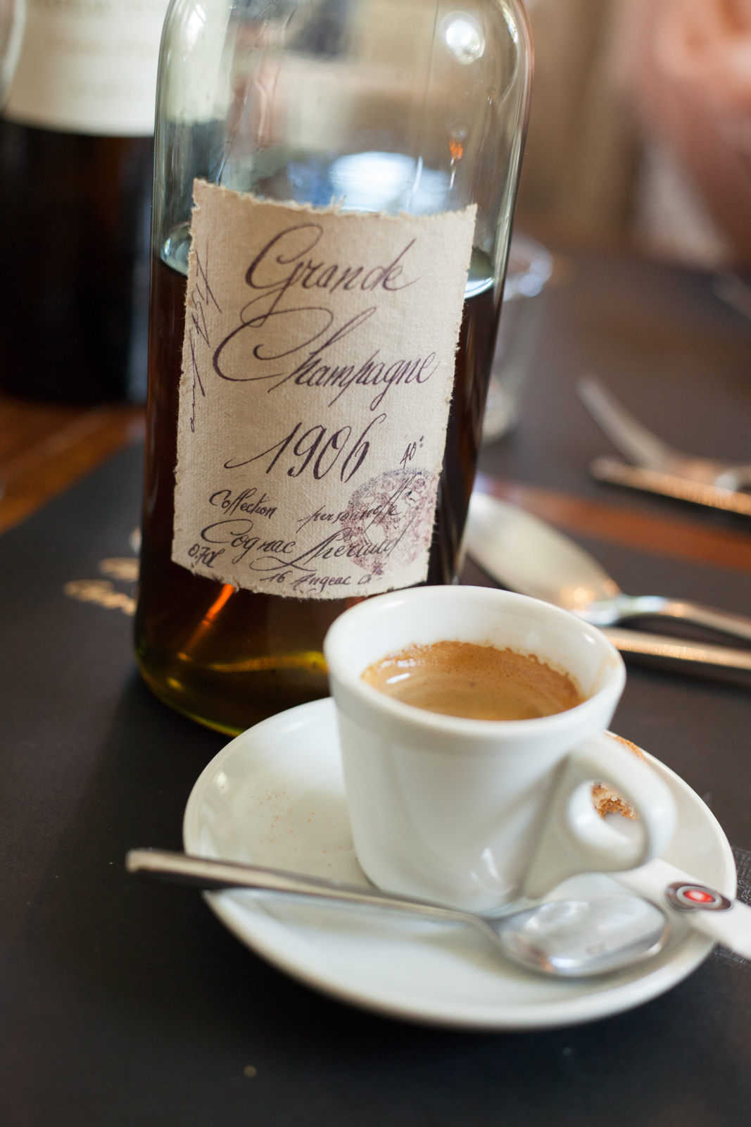 A bottle of 1906 Grand Champagne Cognac after lunch with an espresso, from Cognac Lhéraud. ©Kevin Day/Opening a Bottle