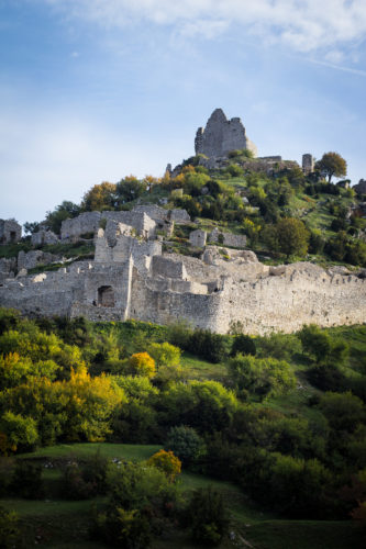 The ruins of the Crussol castle in Saint-Peray, France.