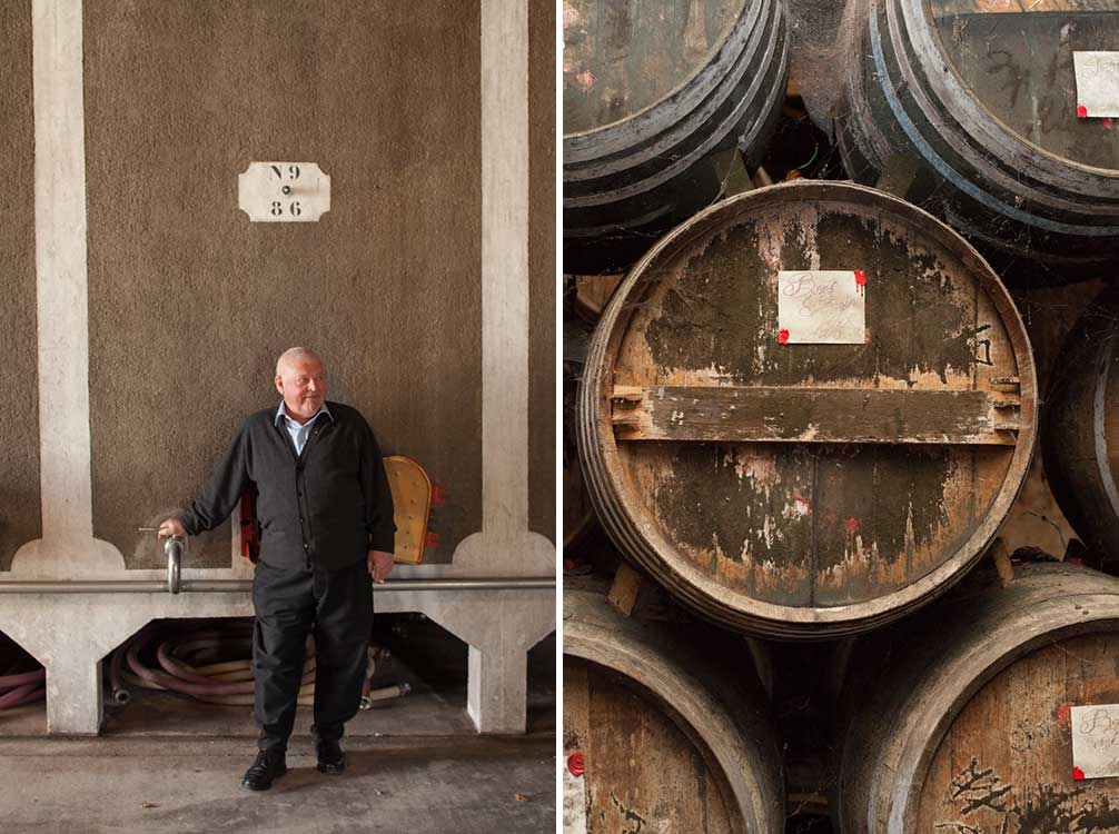Portrait of Guy Lhéraud at Cognac Lhéraud (left) and barrels aging Cognac at Cognac Lheraud (right). ©Kevin Day/Opening a Bottle
