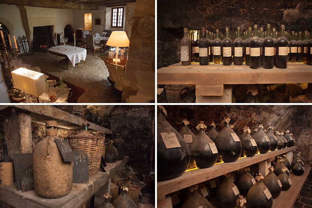 The small parlor room just off the cellar at Cognac Lheraud, and the treasures in demijohns that await inside. ©Kevin Day/Opening a Bottle