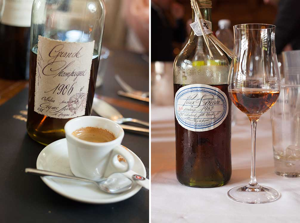 A bottle of 1906 Grand Champagne Cognac after lunch with an espresso (left), and a bottle of 1962 Pineau des Charentes from Cognac Lheraud (right) ©Kevin Day/Opening a Bottle