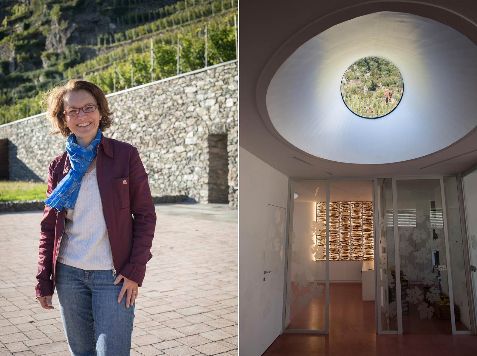 ARPEPE's enologist, Isabella Pelizzatti Perego (left); and the view from inside the winery and tasting room, which her husband designed (right). ©Kevin Day/Opening a Bottle