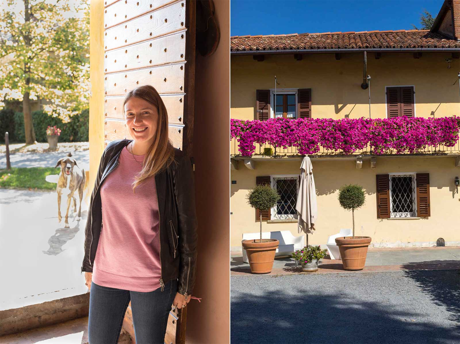 Right: Isabella Oddero (and a photobombing canine member of the family). Left: The lemon-cream colored home and winery of the Oddero family. ©Kevin Day/Opening a Bottle