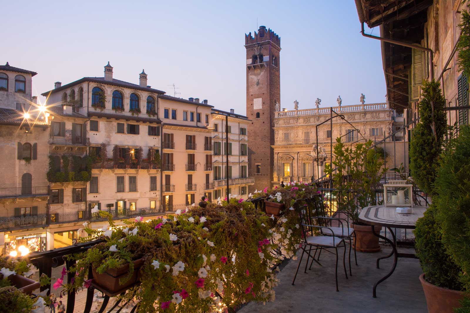 The view at dusk from the balcony of the Piazza Erbe Suite of Corte Realdi. ©Kevin Day/Opening a Bottle