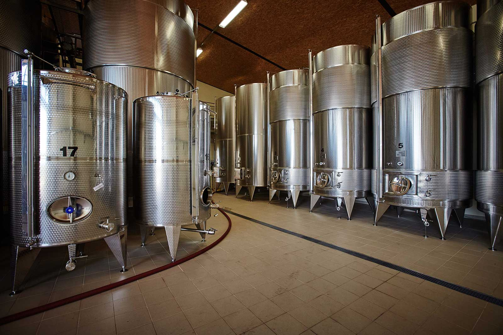 Fermentation tanks at Montonale, one of Lugana's wineries. Lugana DOC is often fermented in stainless steel. ©Montonale